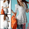 Ladies White Scoop Neck Flower Embroidery Lined Casual Lace Shirt XS